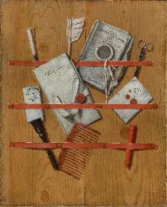 Edwaert Collier - A Trompe L'Oeil Still Life with letters, a magazine, a notebook, a magnifying glass, scissors, a quill, a letter opener and a tortoise shell comb
