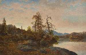 Hans Fredrik Gude - Forest Landscape with Lake