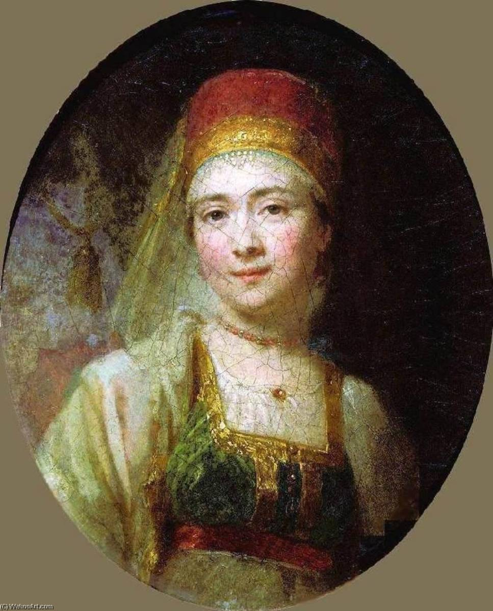 Portrait of the Peasant Woman Christina, Oil On Canvas by Vladimir Lukich Borovikovsky (1757-1825)