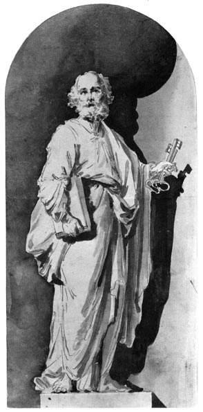 Apostle Peter, Ink by Vladimir Lukich Borovikovsky (1757-1825)