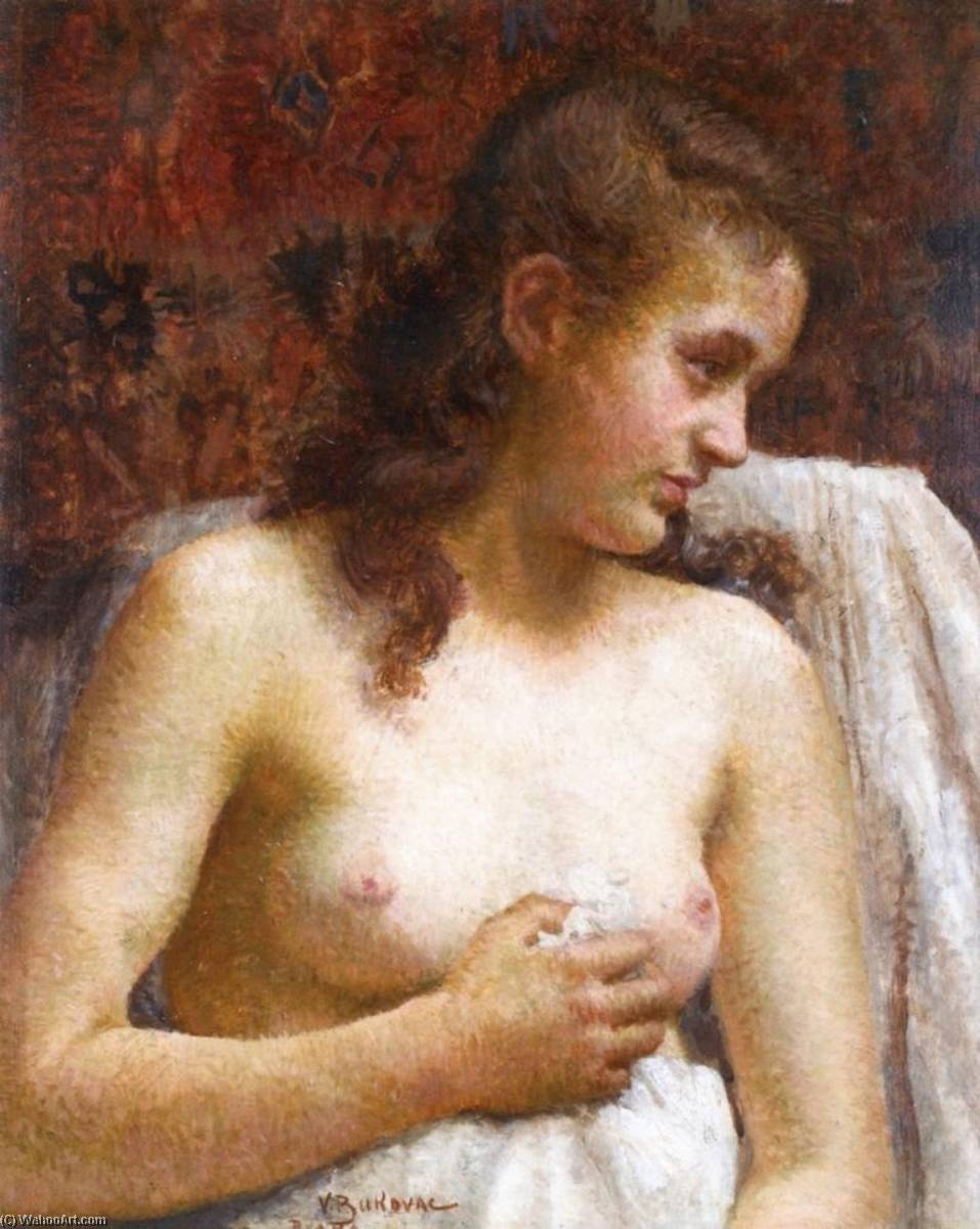 In the Boudoir, Oil On Panel by Vlaho Bukovac (1855-1922, Croatia)