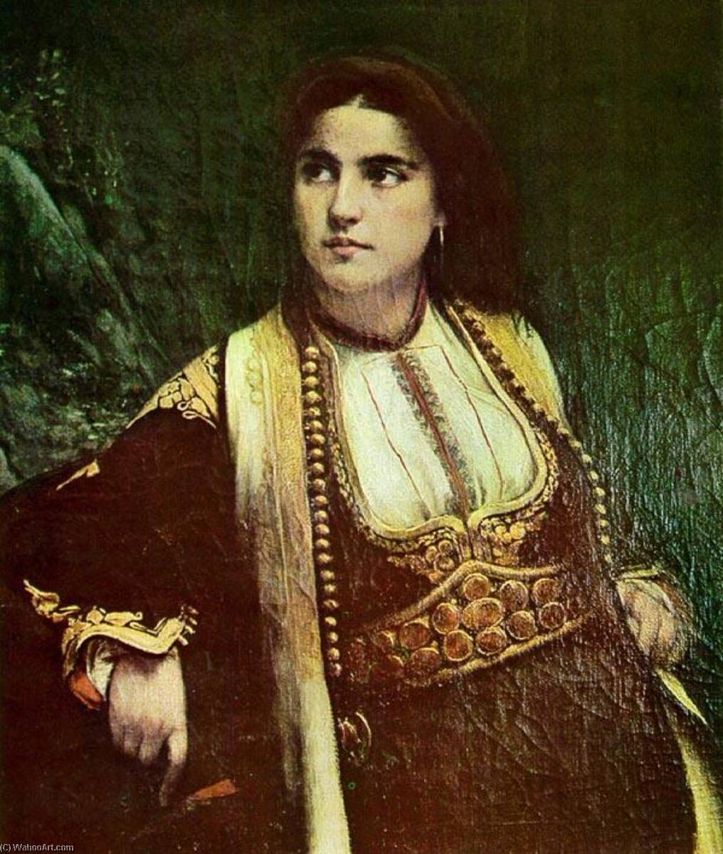 A Montenegrin woman, Oil On Canvas by Vlaho Bukovac (1855-1922, Croatia)