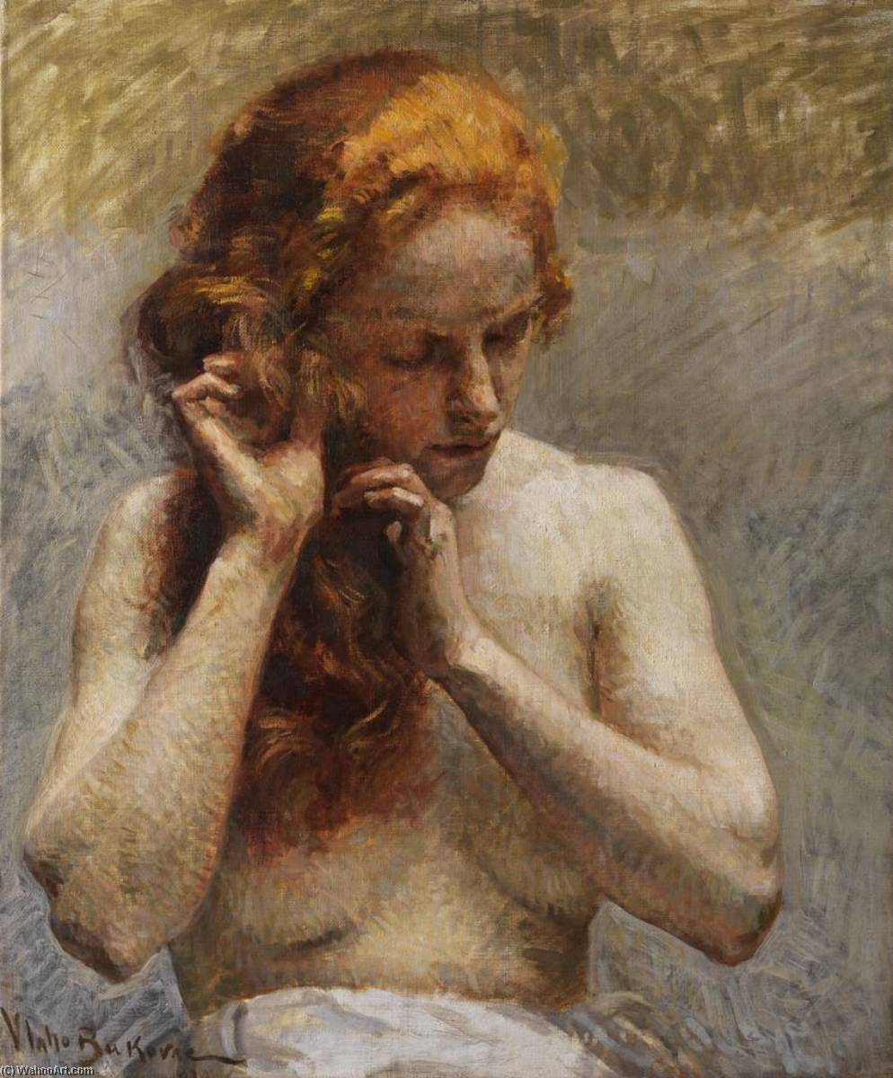 Female Nude, Oil On Canvas by Vlaho Bukovac (1855-1922, Croatia)