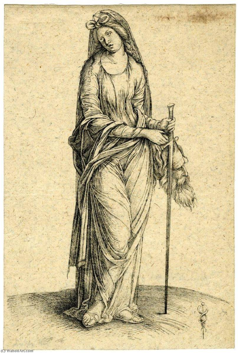 Judith with the head of Holofernes in one hand, a sword in the other, Engraving by Jacopo Barbari (1460-1516)