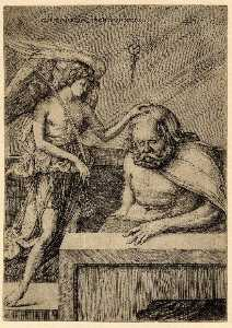 Jacopo Barbari - The guardian angel, standing, placing his hand on the head of a sleeping man