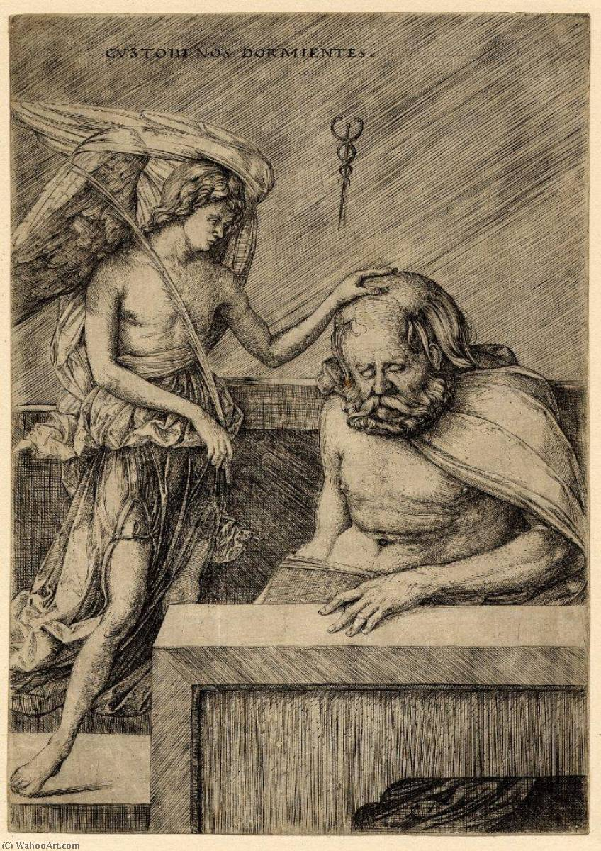 The guardian angel, standing, placing his hand on the head of a sleeping man by Jacopo Barbari (1460-1516)