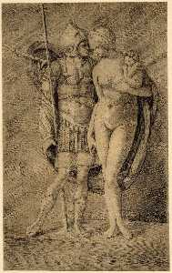 Jacopo Barbari - Mars and Venus standing full length Mars in armour with a spear, Venus nude holding Cupid