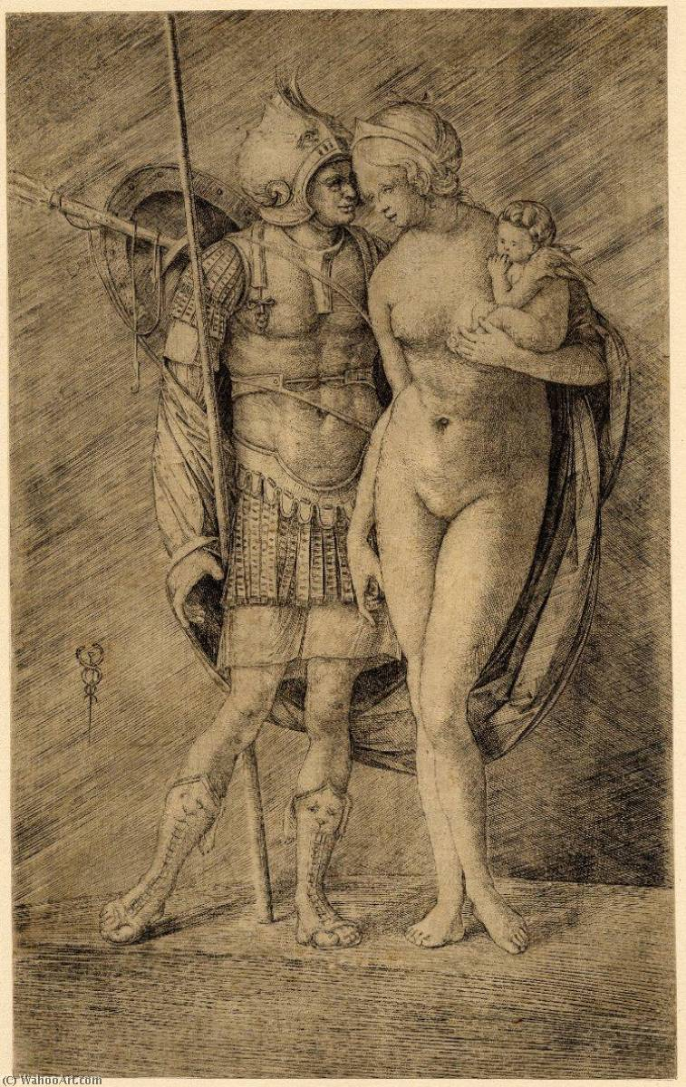Mars and Venus standing full length Mars in armour with a spear, Venus nude holding Cupid, Engraving by Jacopo Barbari (1460-1516)
