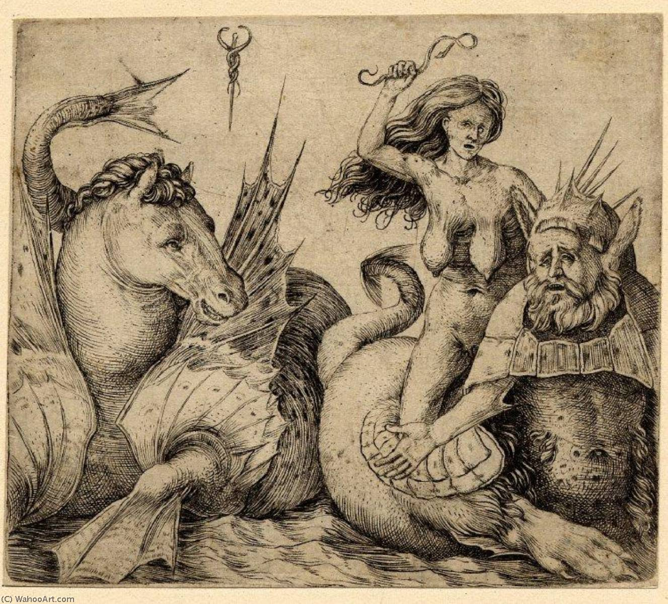 An naked old woman riding on a triton, Engraving by Jacopo Barbari (1460-1516)