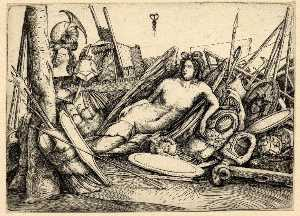 Jacopo Barbari - A female figure of Victory reclining amid a pile of trophies of war