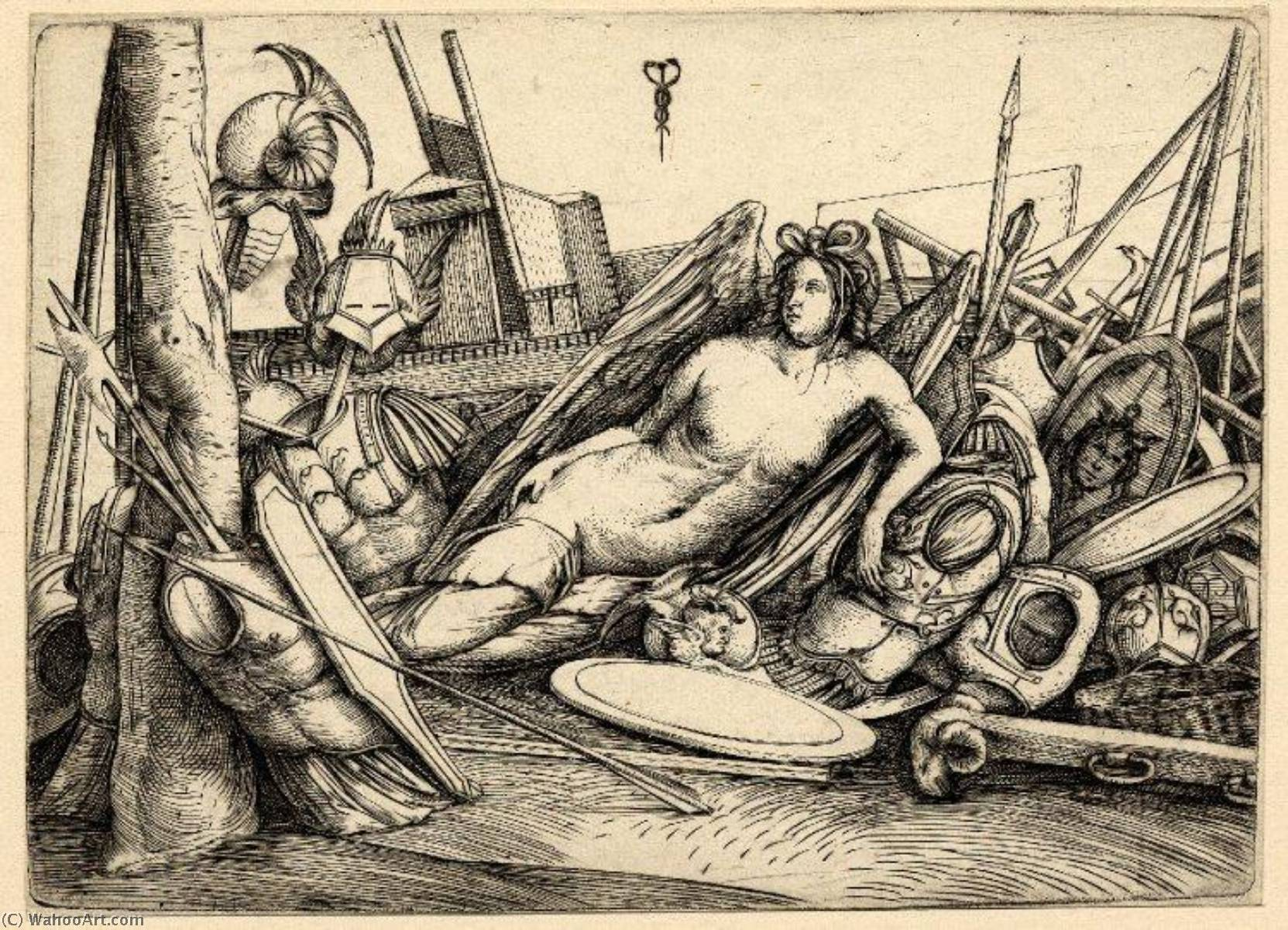 A female figure of Victory reclining amid a pile of trophies of war, Engraving by Jacopo Barbari (1460-1516)