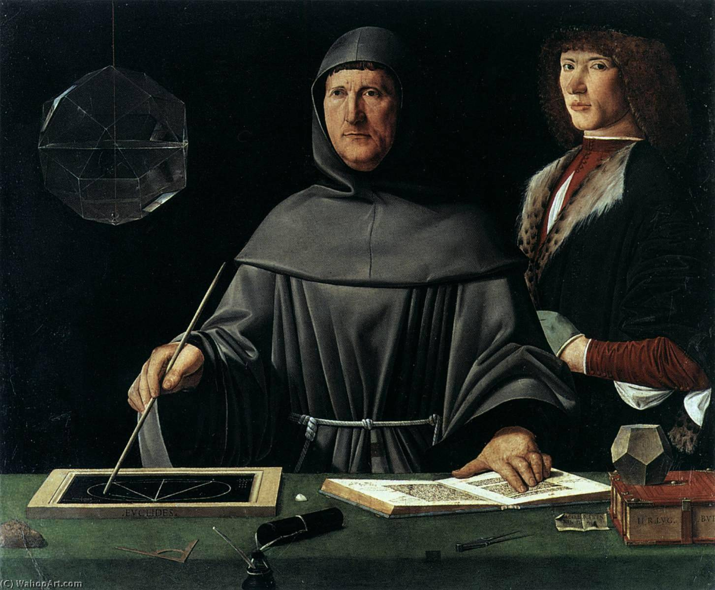 Portrait of Fra Luca Pacioli and an Unknown Young Man, 1495 by Jacopo Barbari (1460-1516) | Painting Copy | WahooArt.com