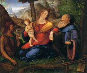 Jacopo Barbari - Virgin and Child Flanked by St John the Baptist and St Anthony Abbot