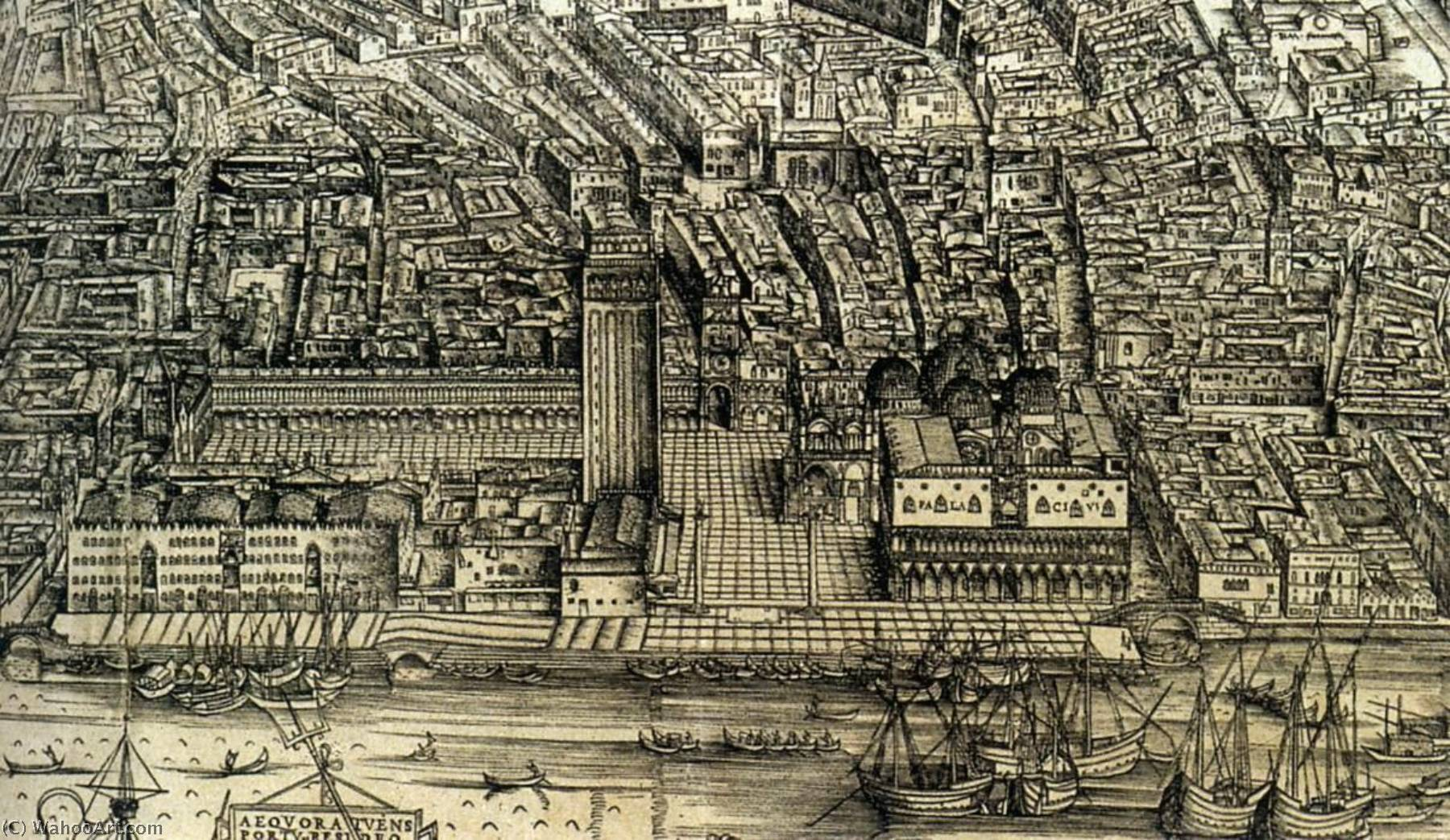 Perspective plan of Venice (detail), Wood by Jacopo Barbari (1460-1516)
