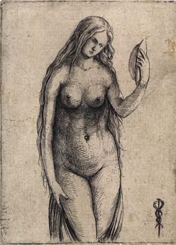 Nude Woman Holding a Mirror, 1503 by Jacopo Barbari (1460-1516) | Famous Paintings Reproductions | WahooArt.com