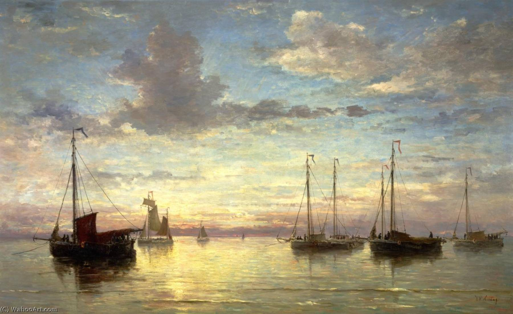 Evening at the Sea by Hendrik Willem Mesdag (1831-1915, Netherlands) | Art Reproductions Hendrik Willem Mesdag | WahooArt.com