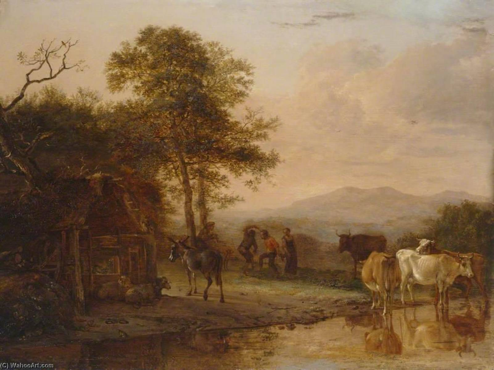 Evening Landscape with Cattle and Peasants Dancing to the Sound of a Pipe, Oil On Panel by Paulus Pietersz Potter (1625-1654, Netherlands)