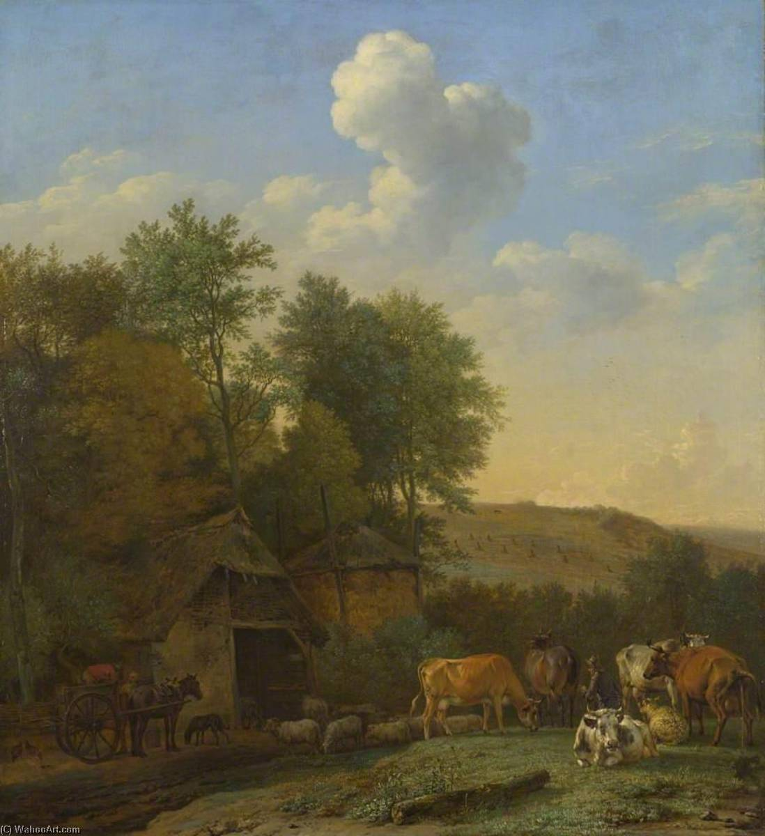 Landscape with Cows, Sheep and Horses by a Barn, Oil On Panel by Paulus Pietersz Potter (1625-1654, Netherlands)