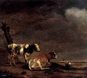 Order Art Reproduction : Landscape with Two Cows and a Goat, 1652 by Paulus Pietersz Potter (1625-1654, Netherlands) | WahooArt.com