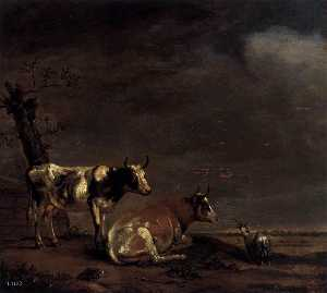 Paulus Pietersz Potter - Landscape with Two Cows and a Goat