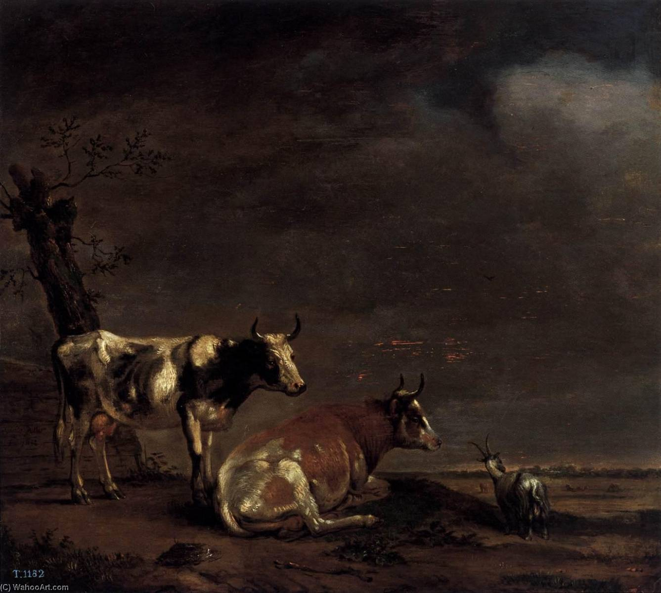 Landscape with Two Cows and a Goat, Oil On Panel by Paulus Pietersz Potter (1625-1654, Netherlands)