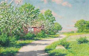 Johan Krouthén - Flowering fruit trees at the red house