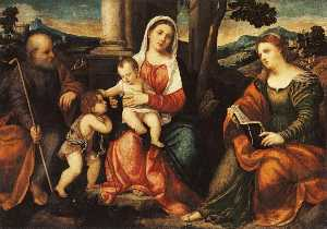 Bonifazio Veronese (Bonifazio De Pitati) - The Holy Family with the Young St. John the Baptist and St. Catherine of Alexandria
