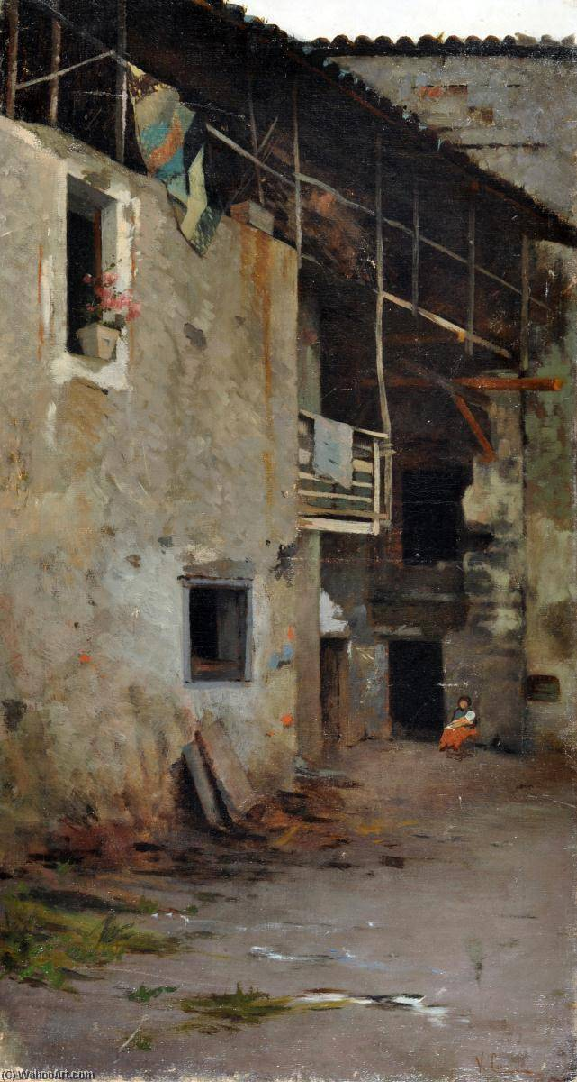 Farmyard, Oil On Canvas by Vincenzo Caprile (1856-1936, Italy)