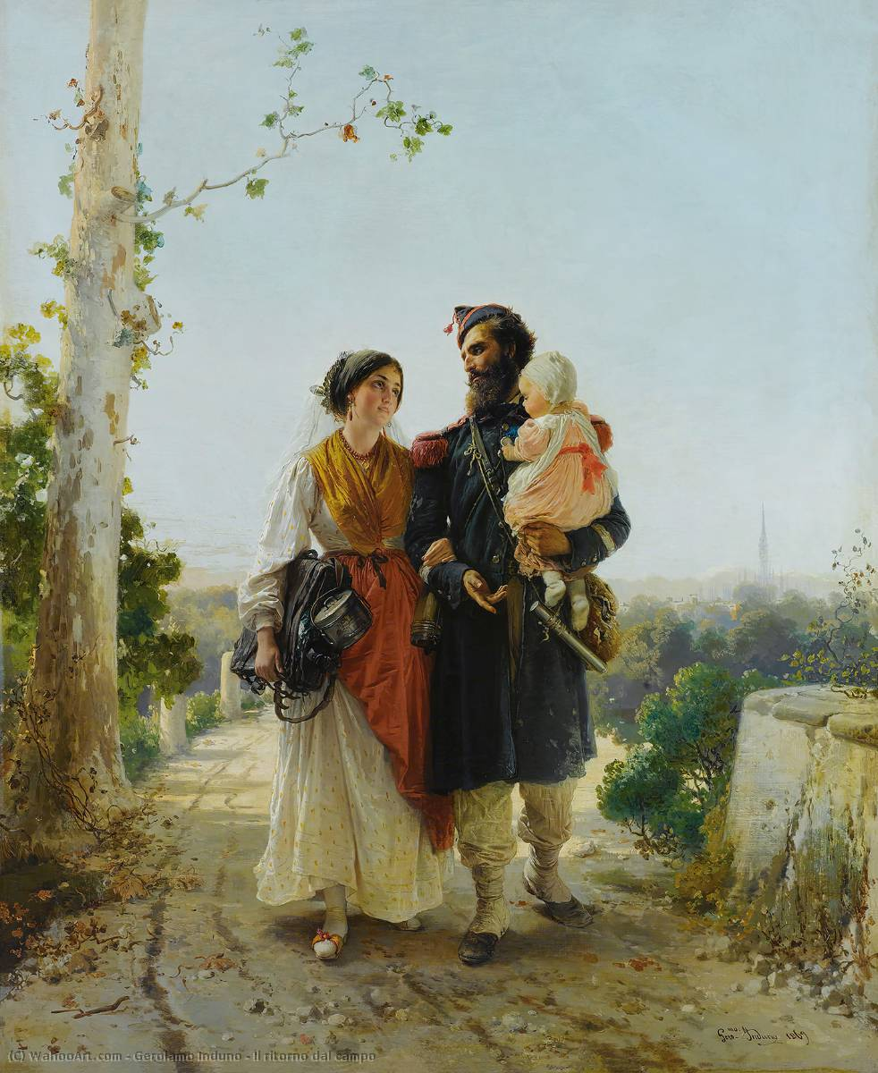 Il ritorno dal campo, Oil On Canvas by Gerolamo Induno (1825-1890)