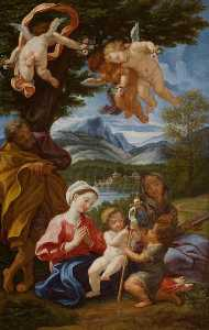 Giovanni Battista Gaulli (Baciccio) - Holy Family with the Young St John the Baptist and St Elizabeth