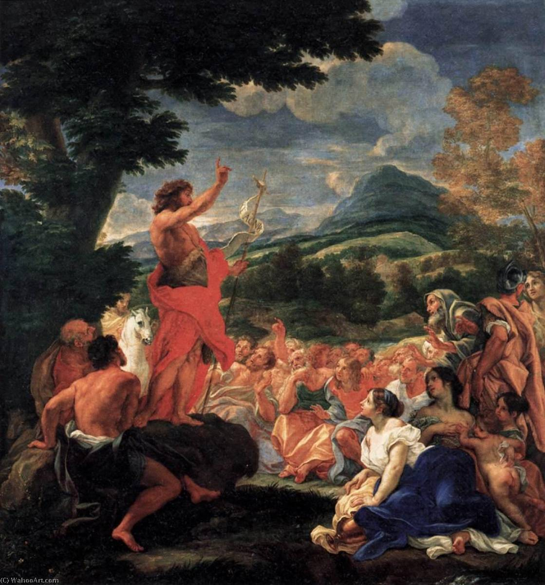 The Preaching of St John the Baptist, 1690 by Giovanni Battista Gaulli (Baciccio) (1639-1709) | Art Reproductions Giovanni Battista Gaulli (Baciccio) | WahooArt.com