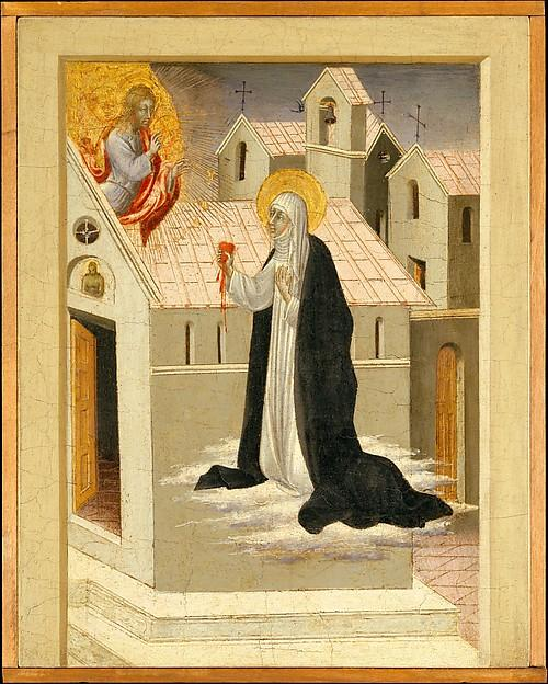 Saint Catherine of Siena Exchanging Her Heart with Christ by Giovanni Di Paolo Di Grazia (1403-1482) | Museum Quality Reproductions | WahooArt.com