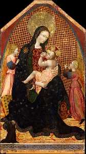 Giovanni Di Paolo Di Grazia - Madonna and Child with Two Angels and a Donor