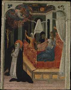 Giovanni Di Paolo Di Grazia - Saint Catherine of Siena Beseeching Christ to Resuscitate Her Mother