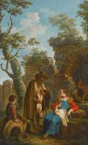 Paolo Monaldi - A woman buying a kid goat from a shepherd, with a boy sitting on a saddle and a man smoking a pipe, by a ruin
