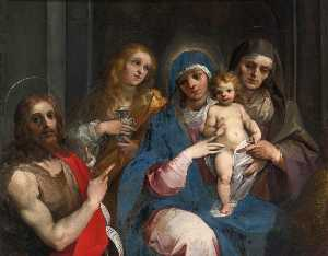 Guiseppe Cesari Dit Le Cavalier D'arpin - Madonna and Child with Sts John the Baptist, Mary Magdalen and Anne