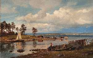 Hans Fredrik Gude - Fjord landscape with people