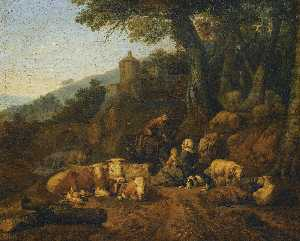 Johann Heinrich Roos - a Landscape with drovers and their flock at rest