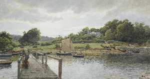 Hans Fredrik Gude - Fishing at Sølvkronen