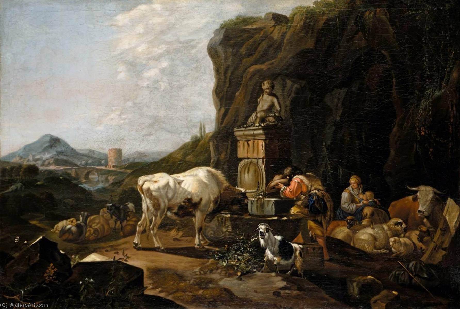 Cow and Shepherd at Well by Johann Heinrich Roos (1631-1631, Germany) | Painting Copy | WahooArt.com