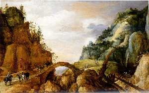 Joos De Momper The Younger - A Mountainous Landscape with Horsemen and Travellers Crossing a Bridge