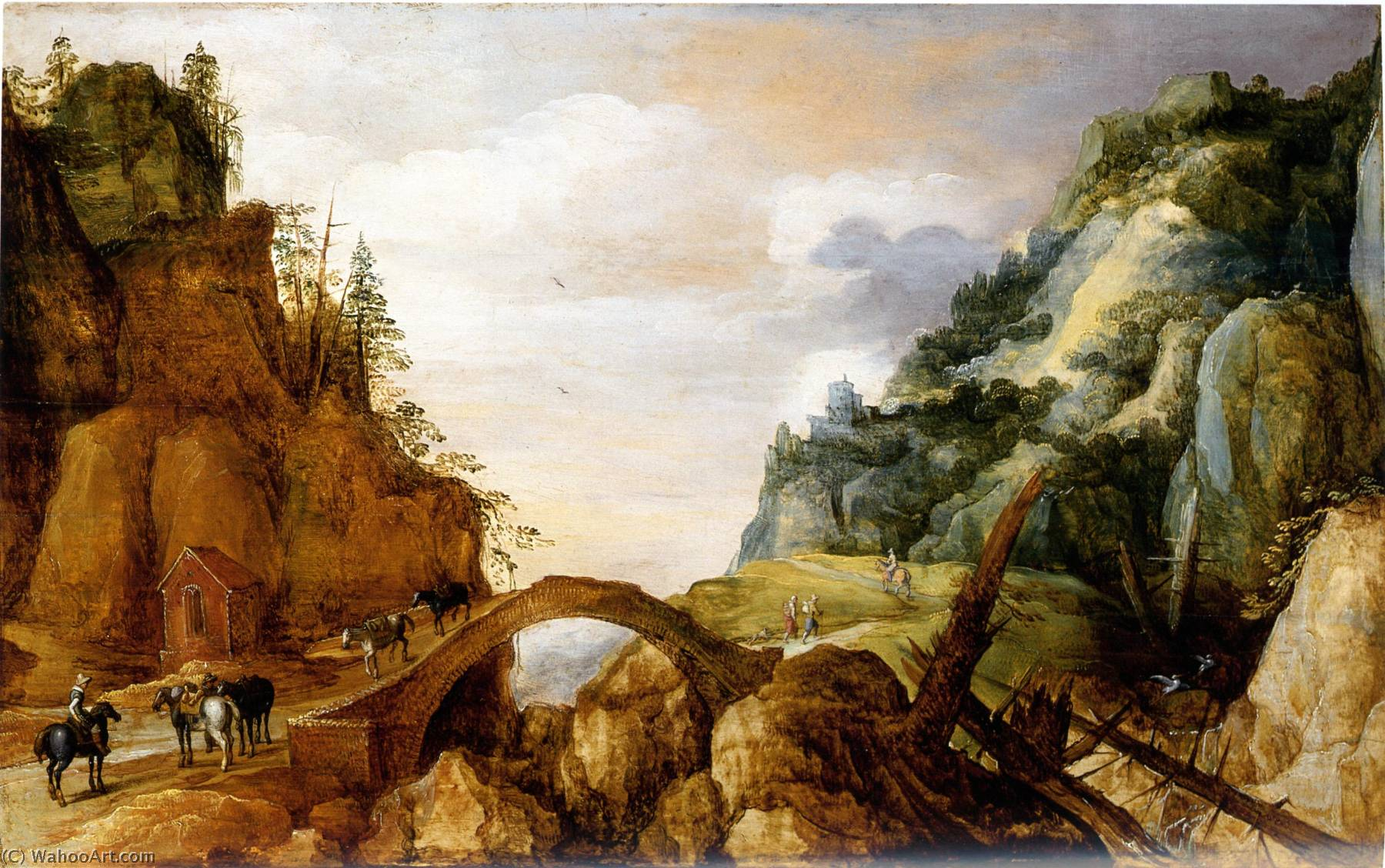 A Mountainous Landscape with Horsemen and Travellers Crossing a Bridge, Oil On Panel by Joos De Momper The Younger (1564-1635)