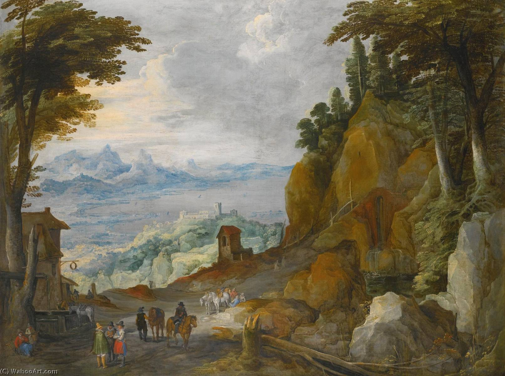 A mountainous landscape with travellers on a path by Joos De Momper The Younger (1564-1635)