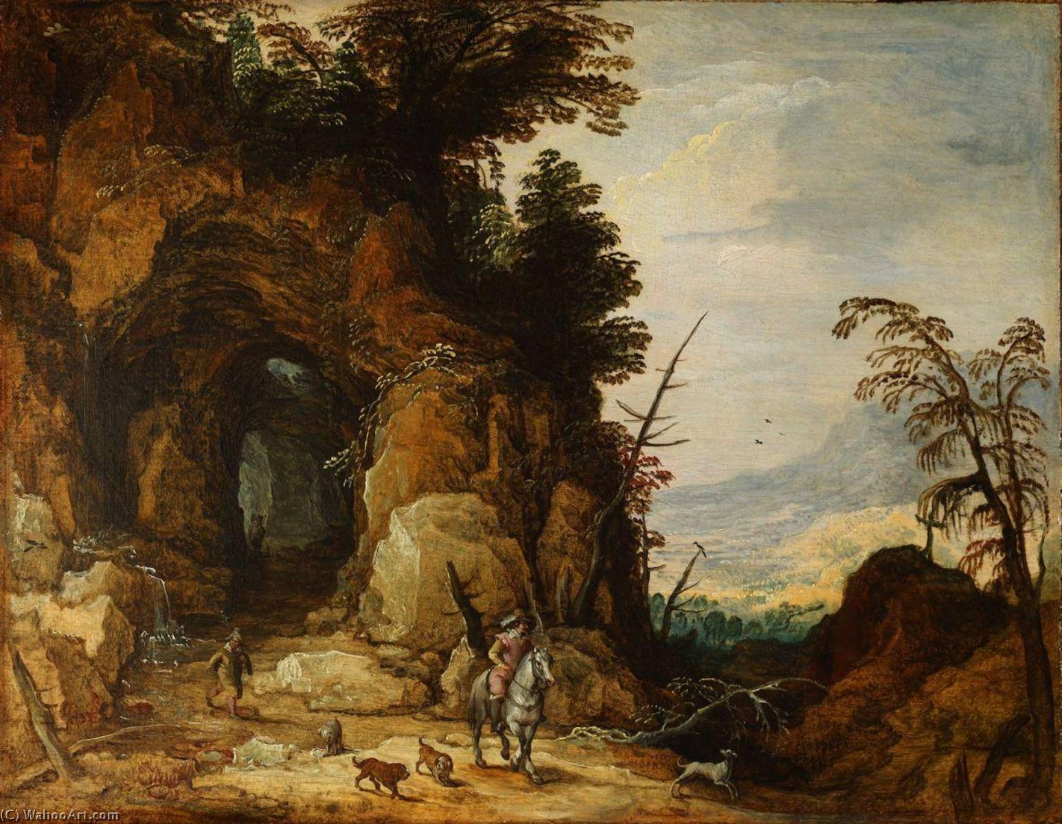 A Mountain Road, 1620 by Joos De Momper The Younger (1564-1635) | Oil Painting | WahooArt.com