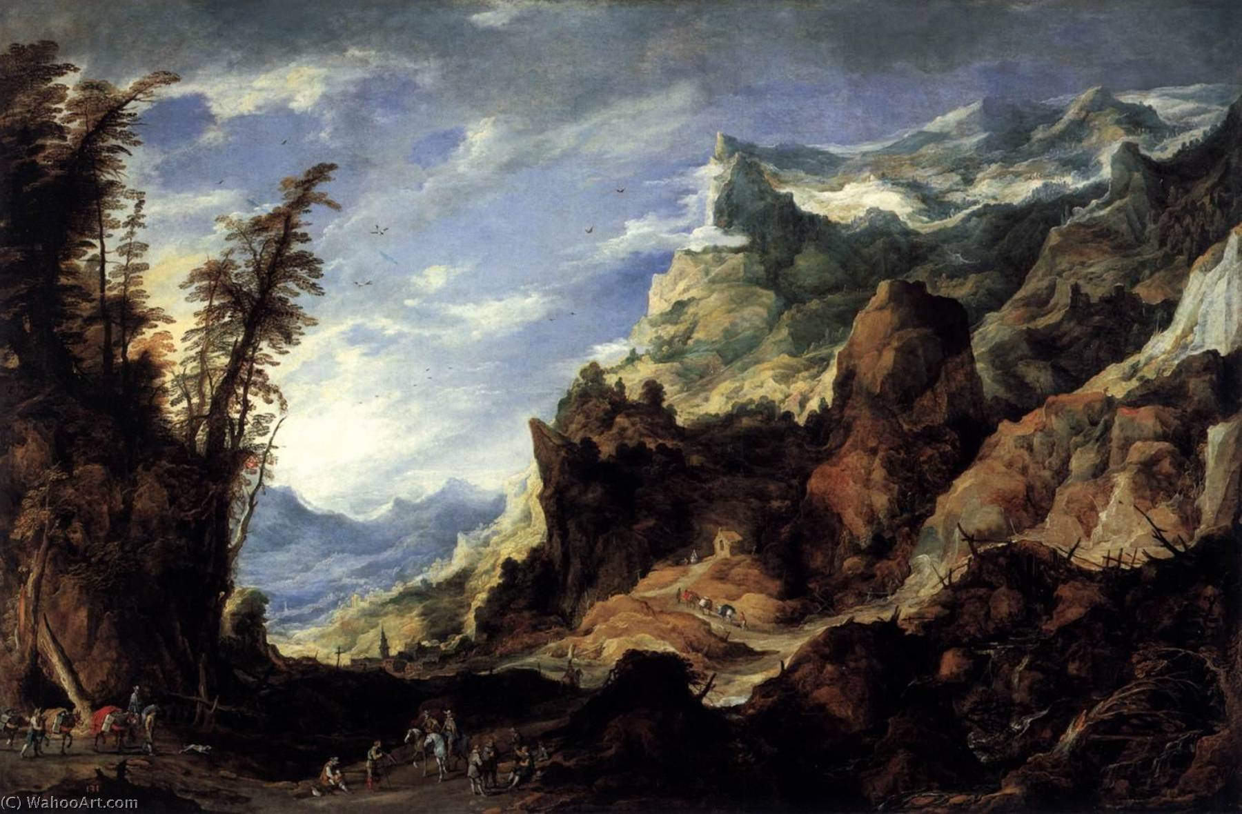 Large Mountain Landscape, Oil On Canvas by Joos De Momper The Younger (1564-1635)
