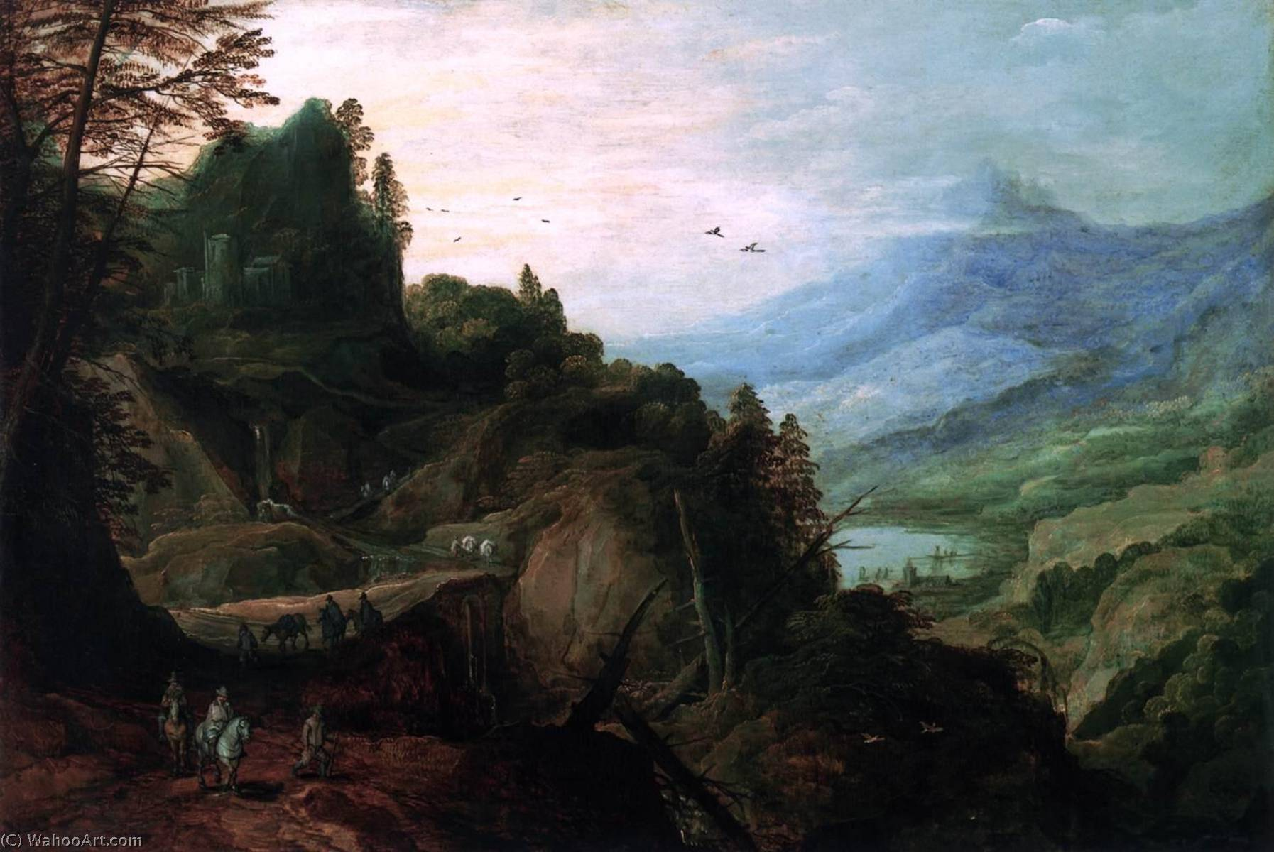 Landscape with a Mountian Pass, Oil On Panel by Joos De Momper The Younger (1564-1635)