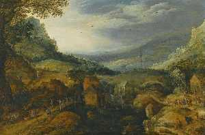 Joos De Momper The Younger - Mountain landscape with country folk dancing and merrymaking