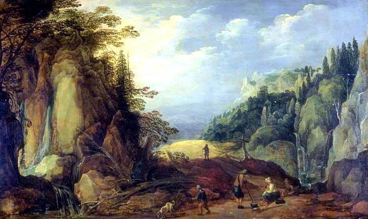 Landscape in the Mountains, Oil On Panel by Joos De Momper The Younger (1564-1635)