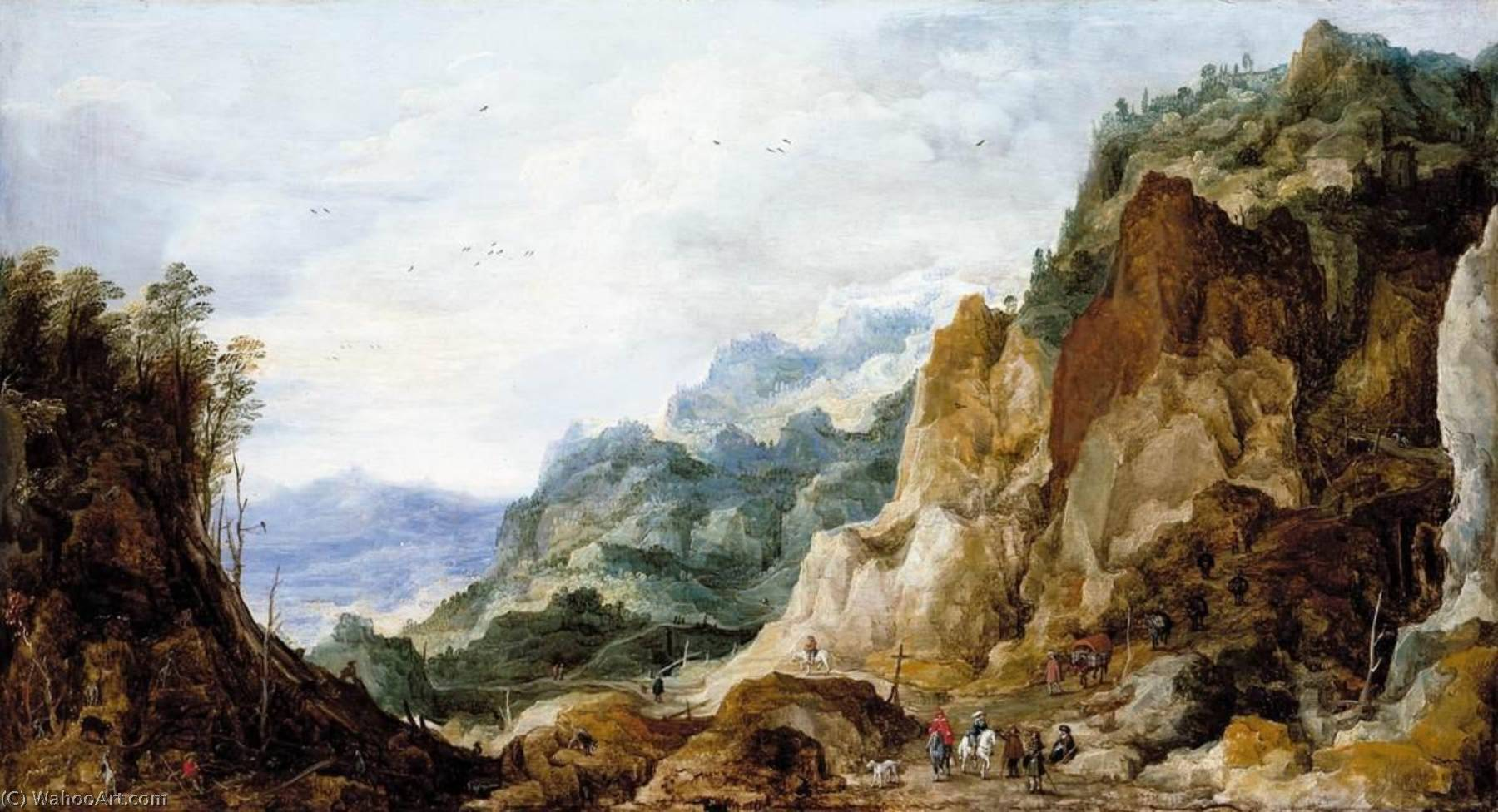 Mountainous Landscape, Oil On Panel by Joos De Momper The Younger (1564-1635)