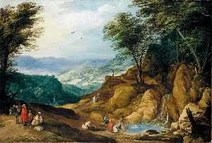 Joos De Momper The Younger - An Extensive Mountainous Landscape with Figures